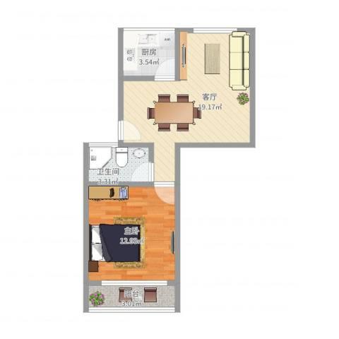 紫藤一村1室1厅1卫1厨52.00㎡户型图