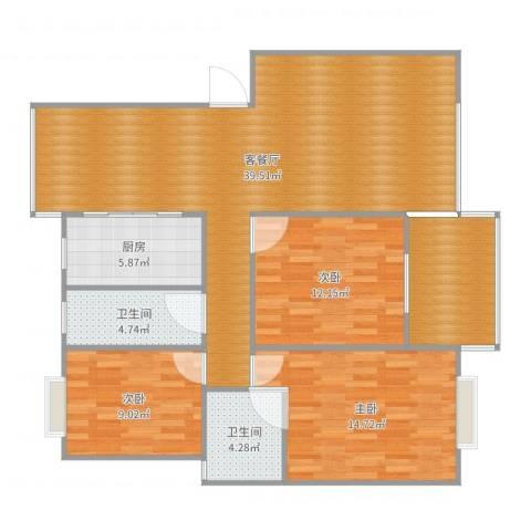 城市绿洲3室2厅2卫1厨122.00㎡户型图