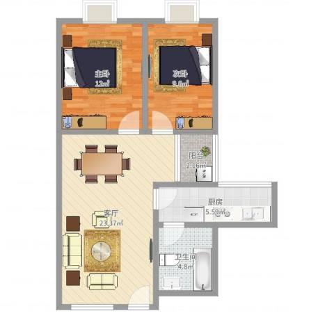 兴禺大厦2室1厅1卫1厨72.00㎡户型图