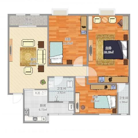 名雅花园3室1厅2卫1厨92.00㎡户型图