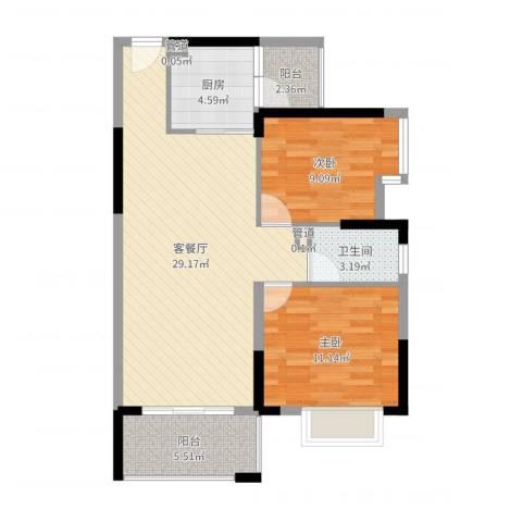 虎门国际公馆2室2厅3卫1厨81.00㎡户型图