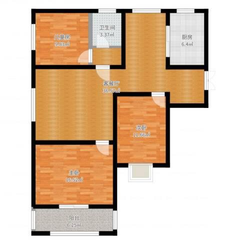 华城翠竹园3室2厅1卫1厨115.00㎡户型图
