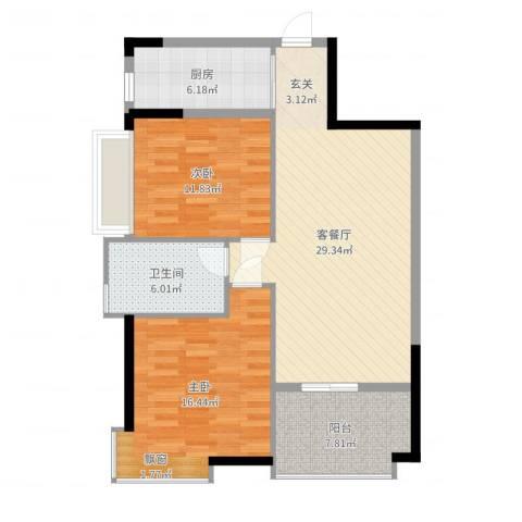 鸿安广场2室2厅1卫1厨97.00㎡户型图