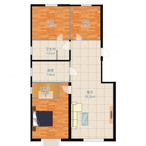 希望廊桥郡2室1厅1卫1厨113.00㎡户型图