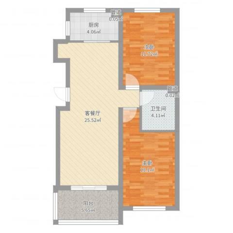 温哥华森林2室2厅1卫1厨80.00㎡户型图