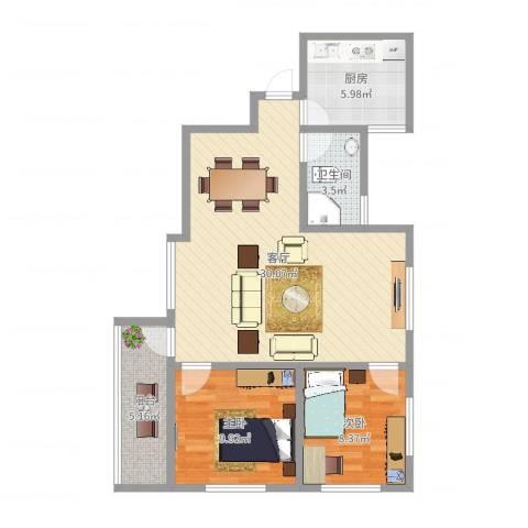 乐怡居2室1厅1卫1厨79.00㎡户型图