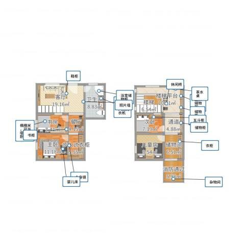 自建房一、二层4室2厅3卫2厨135.00㎡户型图
