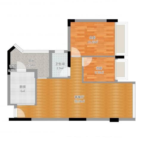 广州雅居乐花园时光九篇2室2厅1卫1厨78.00㎡户型图