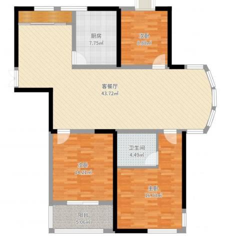 胜利华庭3室2厅1卫1厨129.00㎡户型图