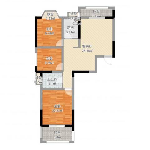 国光山水间3室2厅1卫1厨90.00㎡户型图