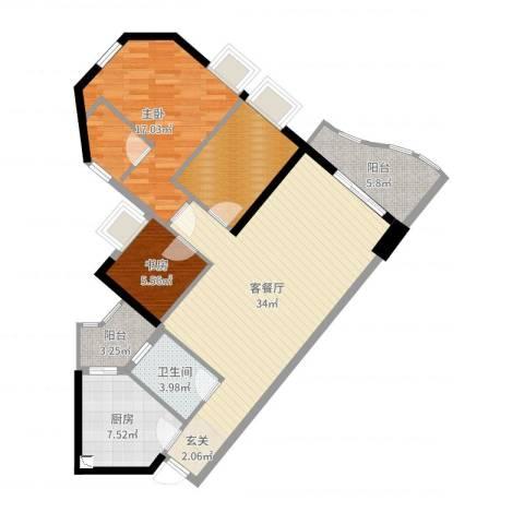 嘉仕花园尚海轩2室2厅1卫1厨107.00㎡户型图