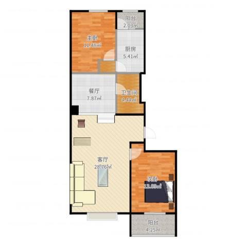 联想科技城2室2厅1卫1厨98.00㎡户型图