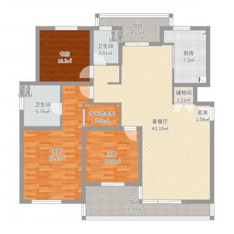 星屿仁恒3室2厅2卫1厨150.00㎡户型图