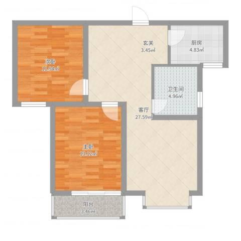 中央峰景2室1厅1卫1厨82.00㎡户型图