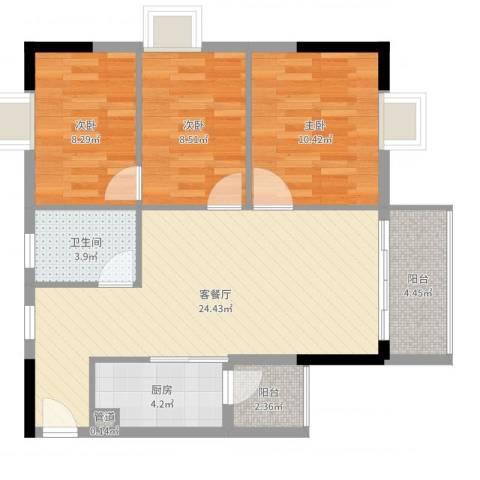 正佳万豪金殿3室2厅2卫1厨83.00㎡户型图