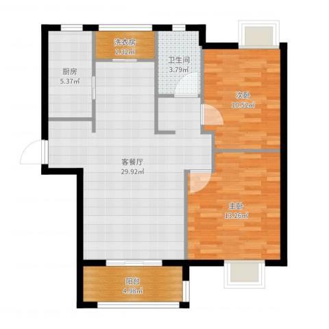 重汽翡翠东郡2室2厅2卫1厨88.00㎡户型图