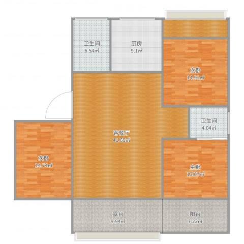 银龙广场3室2厅2卫1厨156.00㎡户型图