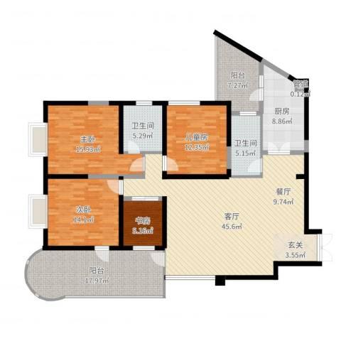 龙汇花园4室1厅2卫1厨172.00㎡户型图