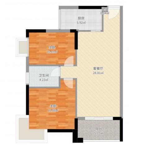 虎门国际公馆2室2厅1卫1厨86.00㎡户型图