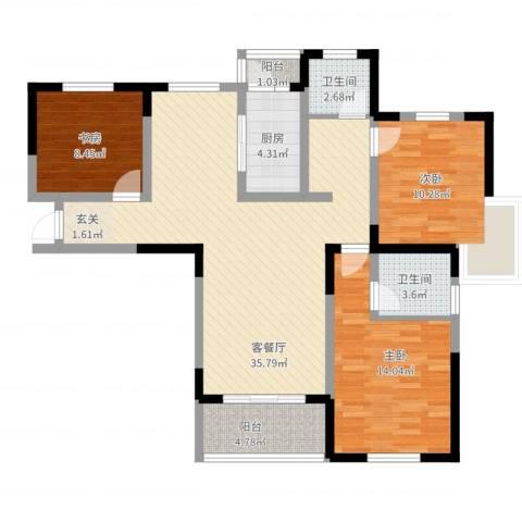 金水湾花园3室2厅2卫1厨124.00㎡户型图