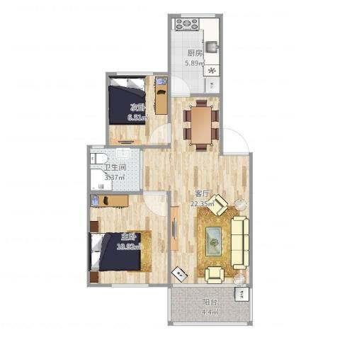 爱法花园二期2室1厅1卫1厨67.00㎡户型图