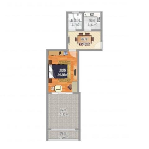 双辽新村小区1室1厅1卫1厨55.00㎡户型图