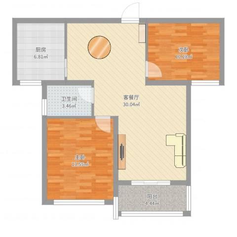 洪福小区三期2室2厅1卫1厨86.00㎡户型图