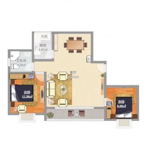 丰水宝邸西苑2室1厅1卫1厨80.00㎡户型图