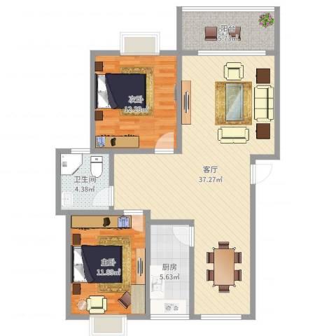 新顾村大家园C区2室1厅1卫1厨96.00㎡户型图