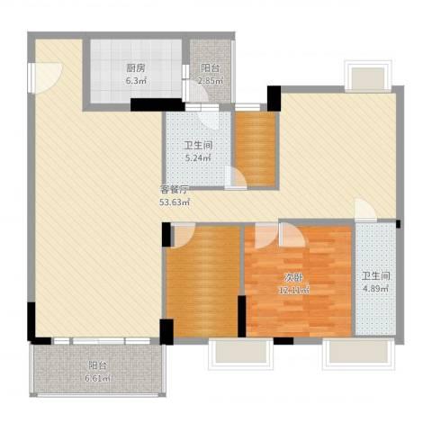 金宝山庄1室2厅2卫1厨129.00㎡户型图