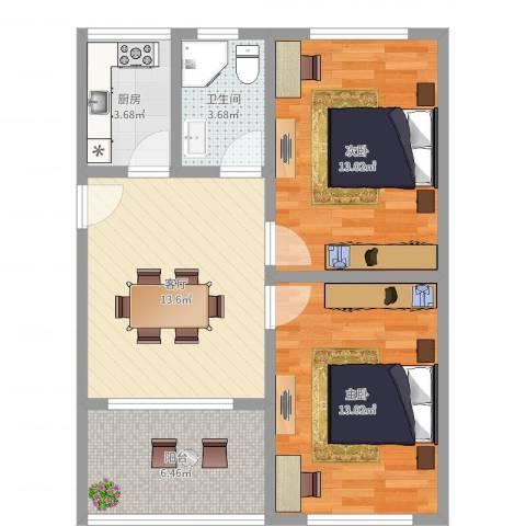 金塔新村2室1厅1卫1厨53.46㎡户型图
