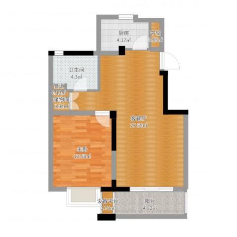 国信・阅景龙华1室2厅1卫1厨70.00㎡户型图