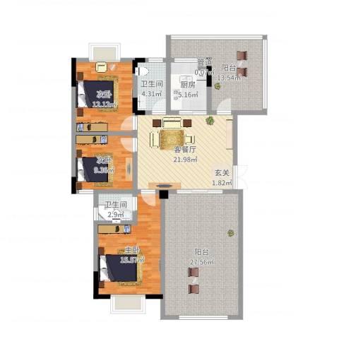 锦绣星城嘉苑3室2厅2卫1厨141.00㎡户型图