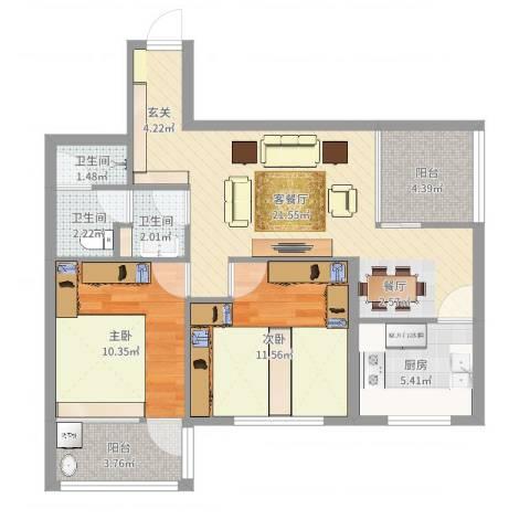 七府苑2室2厅3卫1厨78.00㎡户型图