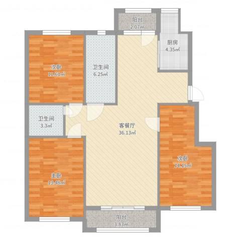 朝阳鸿盛世家3室2厅2卫1厨119.00㎡户型图