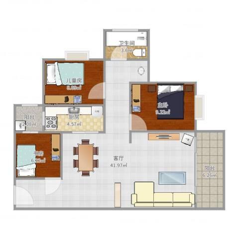 禹洲棕榈城3室1厅1卫1厨103.00㎡户型图