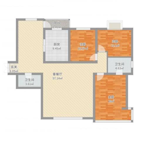 万成广场3室2厅2卫1厨147.00㎡户型图