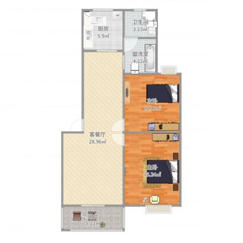 金山易居2室4厅1卫1厨93.00㎡户型图