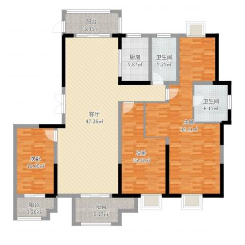 蓝鼎海棠湾3室1厅2卫1厨177.00㎡户型图
