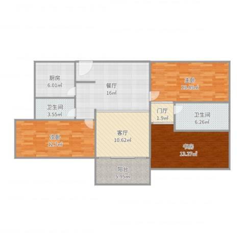 新威花园3室2厅2卫1厨112.00㎡户型图
