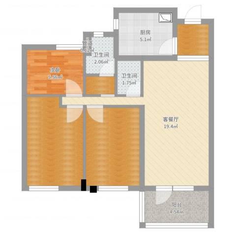 万科城花�苑1室2厅2卫1厨77.00㎡户型图