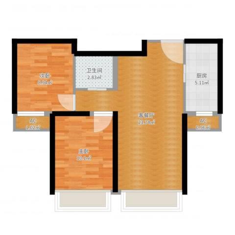 汤河铭筑2室2厅3卫1厨66.00㎡户型图