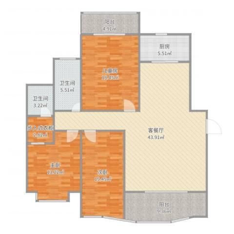 圆梦园3室2厅2卫1厨153.00㎡户型图