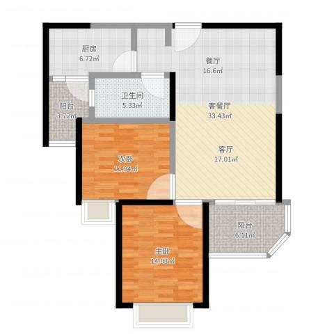 恒大名都2室2厅1卫1厨102.00㎡户型图