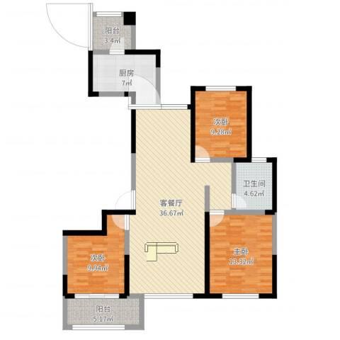 高新城市广场3室2厅1卫1厨112.00㎡户型图