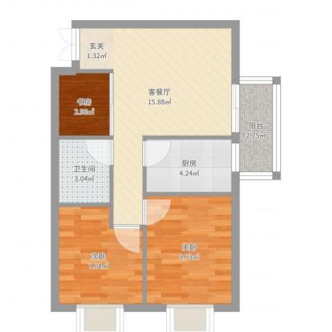 居易家园3室2厅1卫1厨56.00㎡户型图