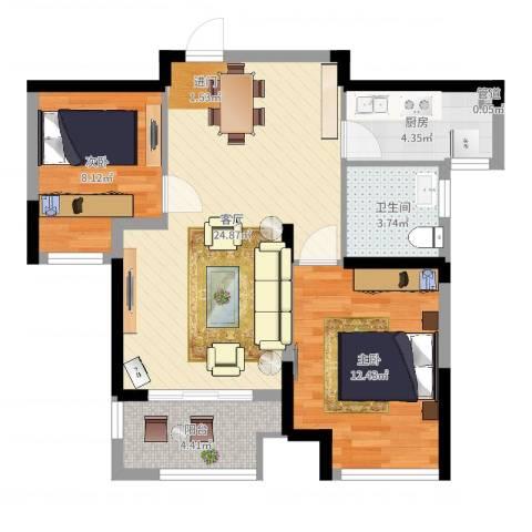 新城域2室1厅1卫1厨83.00㎡户型图