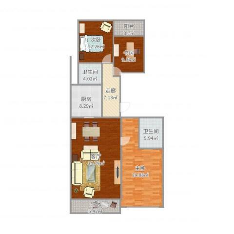 柏悦公馆3室1厅2卫1厨145.00㎡户型图