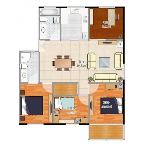 新庄新村3室1厅4卫2厨126.00㎡户型图