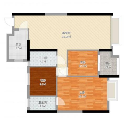 柏悦公馆3室2厅2卫1厨109.00㎡户型图